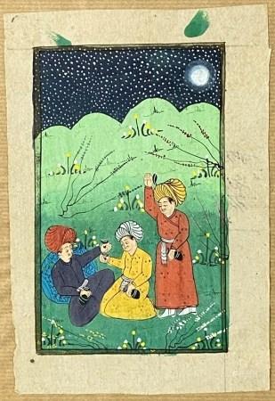 Persische Miniaturmalerei - Nächtliche Landschaft mit drei Händlern, polychrome Malerei auf