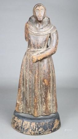 Franziskaner Mönch - Philippinen 18./19.Jh., Holz, dunkel gefasst, Figur aus der Zeit der
