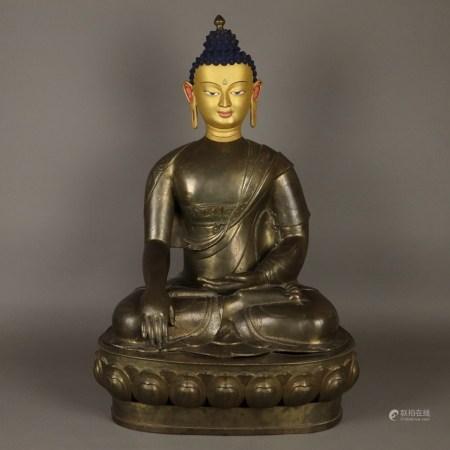 Buddha Shakyamuni - Tibet, 19.Jh., Bronze, Figur und Sockel getrennt gegossen, Gesicht mit