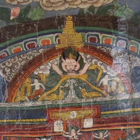 Mandala-Thangka - Tibet/Nepal, 19./20. Jh., Malerei in Gouachefarben auf Tuch, konzentrisches