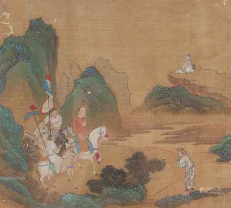 Chinesische Malerei auf Seide, königlicher Ausritt, China 19. Jahrhundert, silk painting - royal