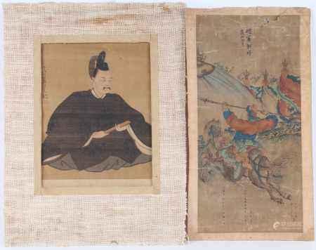 Zwei chinesische Malereien - Gelehrter & reitender Lanzenträger, Two Chinese paintings - scholar &
