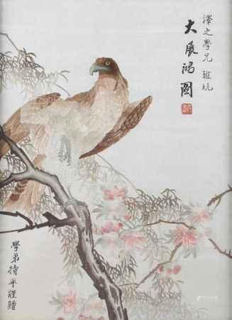 Seidenstickerei Adler auf Ast, China 1. Drittel 20. Jahrhundert, silk embroidery eagle on branch,