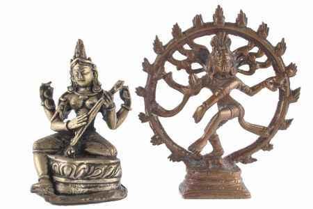 2 Bronze Buddha Figuren, Hinduismus Saraswati und Shiva Nataraja,