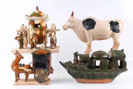 4 Terrakotta Skulpturen, China, terracotta sculptures,
