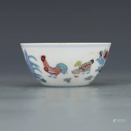 Chinese Doucai Porcelain Chicken Cup, Mark