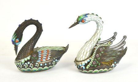 Two Chinese Silver Enamel Swans