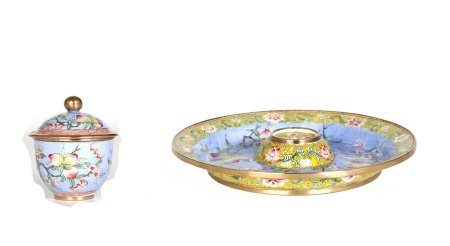 Chinese Enamel on Copper Dish & Cup