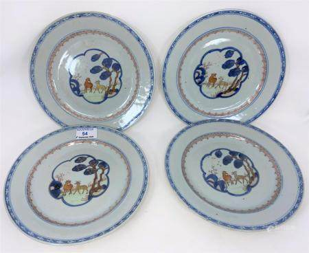 A set of 4 Chinese plates decorated with central panels decorated with deer, diameter 23cm