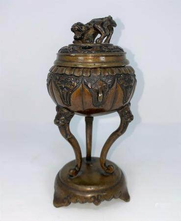 A Chinese bronze covered censer with Dog of Fo finial, 3 tall cabriole legs, on circular base,