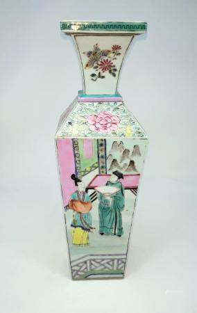 A Chinese square vase decorated in polychrome with panels of figures in traditional scenes, height