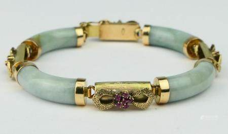 CHINESE FABULOUS JADE GOLD AND RUBY BRACELET