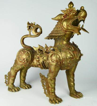 FABULOUS ASIAN BRONZE LARGE TEMPLE FOO LION
