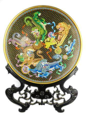 """HEAVY CHINESE CLOISONNE FOO LIONS 20"""" CHARGER"""