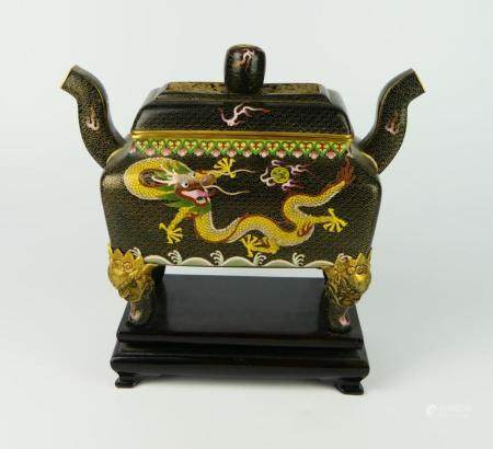 CHINESE BLACK GROUND CLOISONNE ENAMELED CENSER