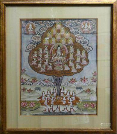 VINTAGE THAI TIBETAN THANGKA OIL ON SILK FRAMED