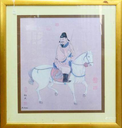 LARGE CHINESE PRINT WARRIOR HORSE BACK