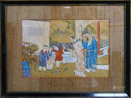 19th CENTURY CHINESE OIL PAINTING ON PAPER FRAMED