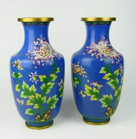 Pr CHINESE BLUE GROUND CLOISONNE ENAMELED VASES