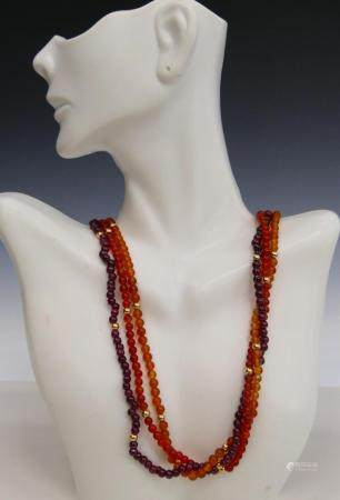 CHINESE CARNELIAN & AMETYHST NECKLACES 14KT Y GOLD