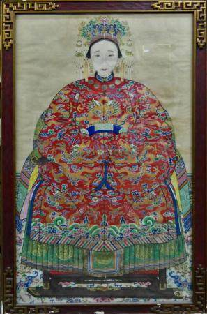 QING PERIOD CHINESE LARGE FRAMED W/C OF EMPRESS