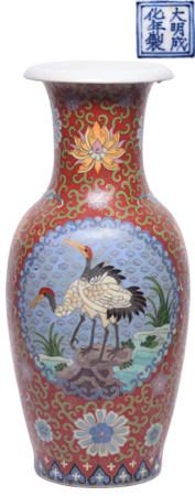 粉彩錯銅雙鶴瓶 - '大明成化年製' 款