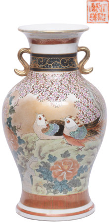 粉彩描金鴛鴦花卉雙耳瓶 - '大清乾隆年製' 款