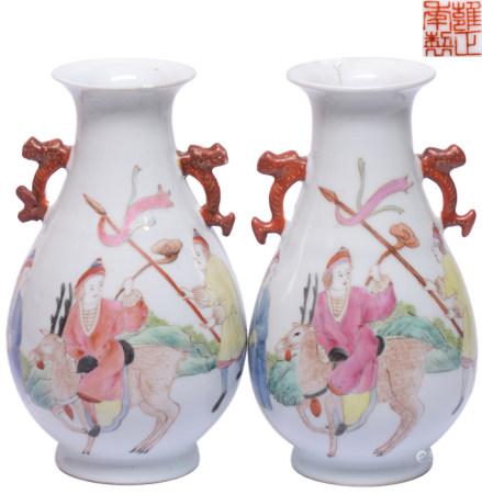 粉彩西洋人物雙耳瓶一對 - '雍正年製' 款