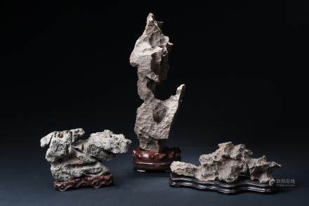 A set of three Lingbi scholar's rocks
