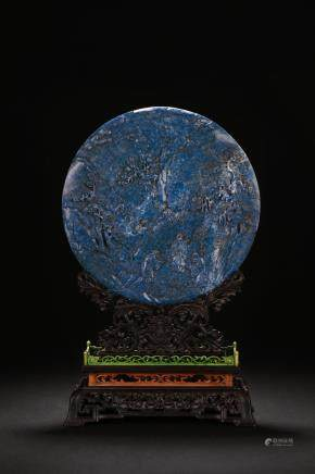 A lapis lazuli 'figures' circular table screen