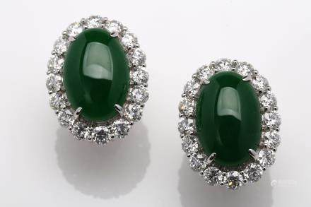 A pair of imperial green jadeite diamond earrings