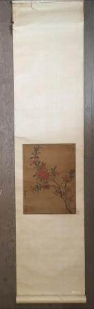 CHINESE FLOWER BIRD PAINTING SCROLL ARTIST YU YUAN SIGNED