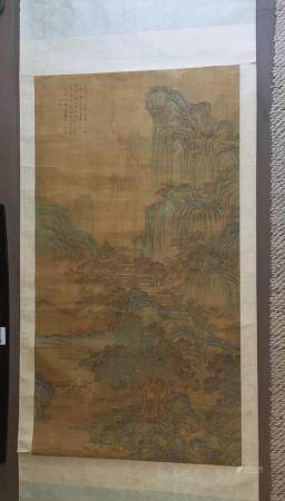 HUGE CHINESE LANDSCAPE PAINTING SCROLL QIU YING SIGNED