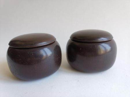 PAIR OF CHINESE NANMU GO CAN WITH GO PIECES