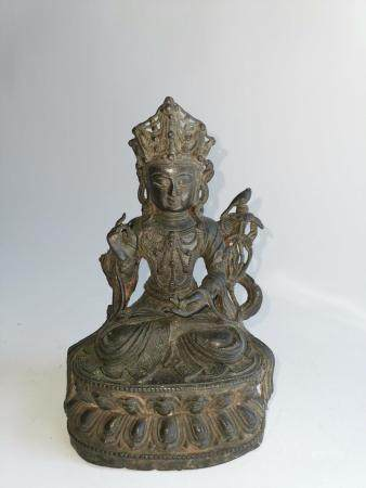 MING DYNASTY CHINESE BRONZE SEATED GUANYIN