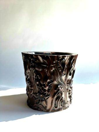 QING DYNASTY CHINESE HIGH-RELIEF ZITAN BRUSHPOT