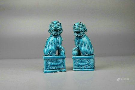 Pair Of Peacock-Green Glazed Porcelain Lions,Qing Dynasty