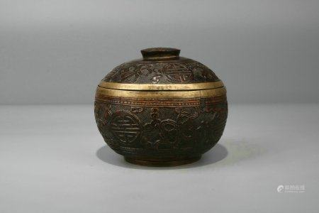 Coconut Shell Covered Silver Box And Cover,Qing Dynasty