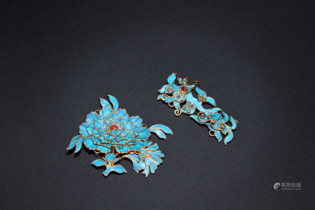 TWO KINGFISHER HAIR PINS