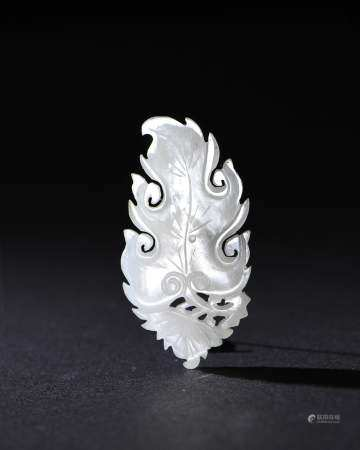 Chinese White Jade Leaf-Shaped Plaque, Ming