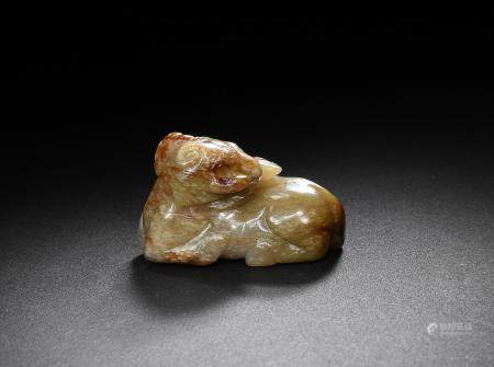 Chinese Jade Carved Goat, Ming or Earlier