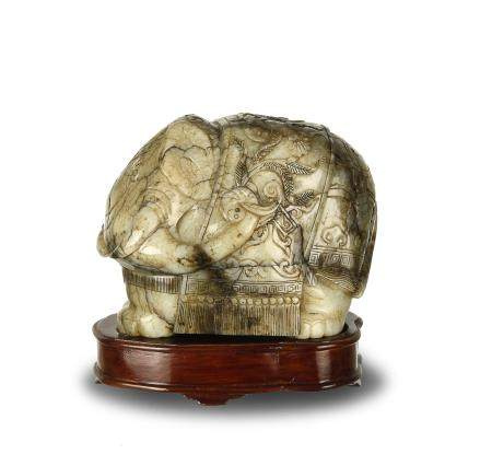 Chinese Jade Carved Elephant, Ming