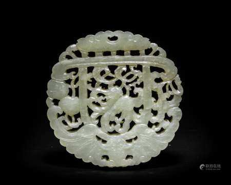 Chinese White Jade Plaque, 18-19th Century