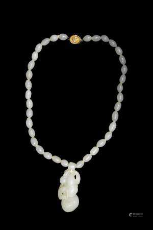 Chinese White Jade Necklace, 19th Century