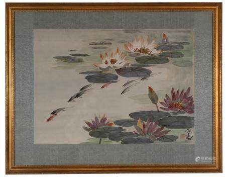 Chinese Painting of Lotus and Fish by Wang Yachen