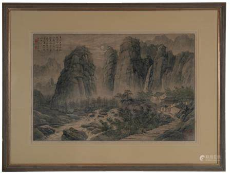 Chinese Painting of Night Scene by Tao Lengyue