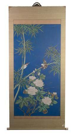 Chinese Blue-Ground Painting attributed to Zhou Yigui