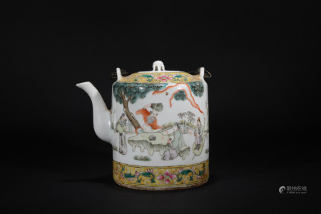 Minguo times figure teapot with loop-handled