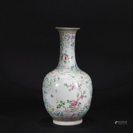 Qing Dynasty pastel medallion vase