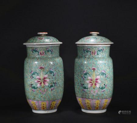 Minguo times pastel lantern-shaped vase*1pair